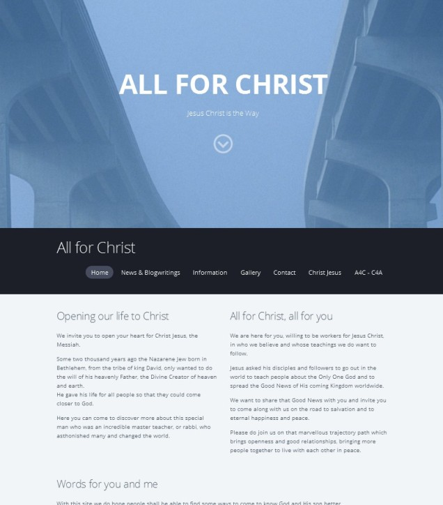 "The website which was only a very short time on the web: ""All for Christ"" by Mozello company"