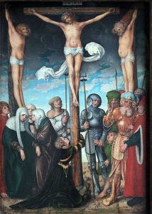 Hanged on the sign of the god Tammuz as persons of evil. - Kreuzigung Christi: 1509, Lucas Cranach the Elder (1472–1553)