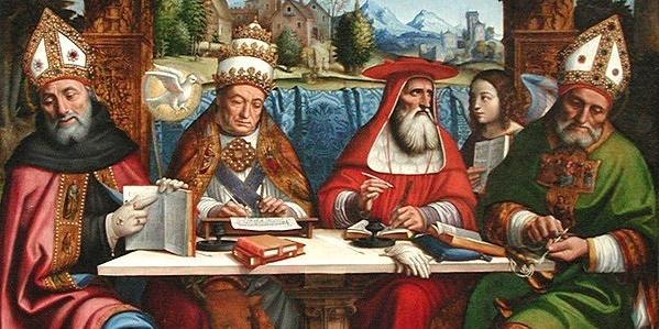 Theologians -Pier_Francesco_Sacchi_-_Dottori_della_Chiesa_-_ca._1516-Modified