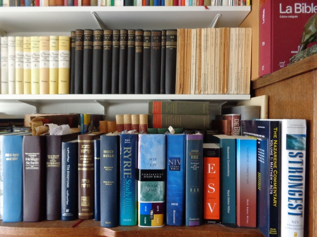 Several Bible-translations on the Bookshelf