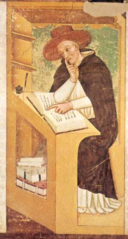 Robert Kilwardby (c. 1215 – 11 September 1279) first member of a mendicant order to attain a high ecclesisatical office in the English Church [1352 fresco by Tommaso da Modena (1326–1379)- church of San Nicolò, Treviso]